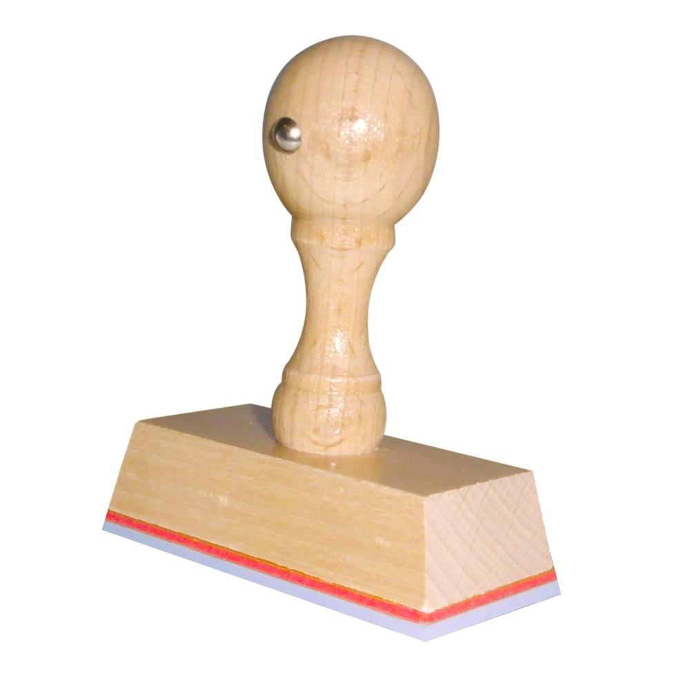 Houten handstempel 65x30 mm.