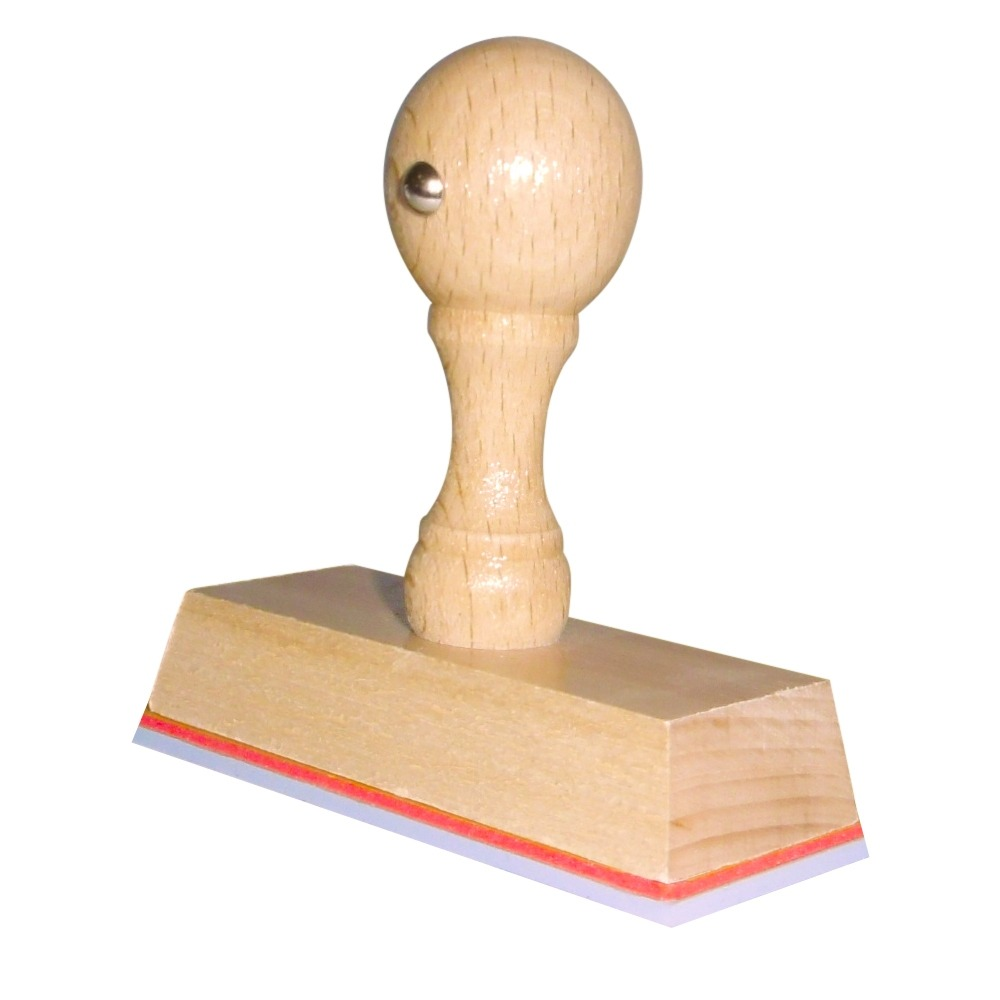 Houten handstempel 75x30 mm.