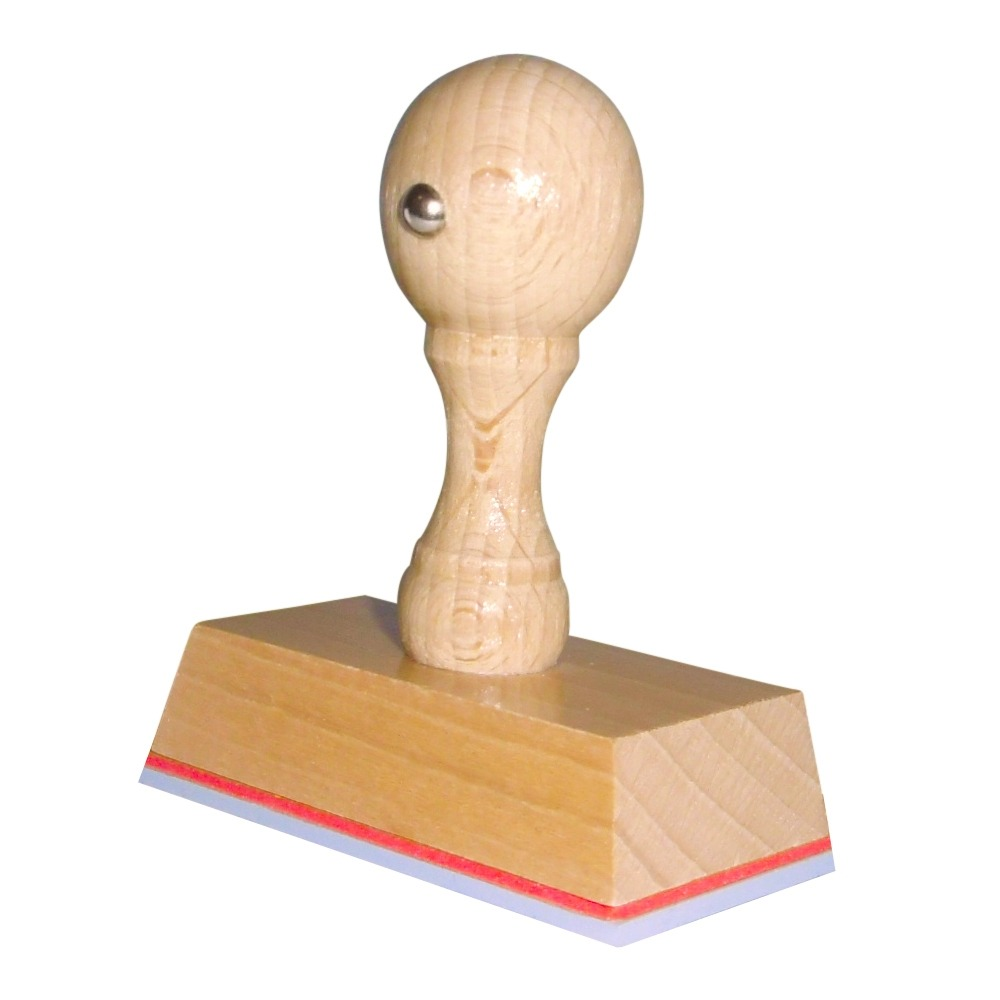 Houten handstempel 65x35 mm.