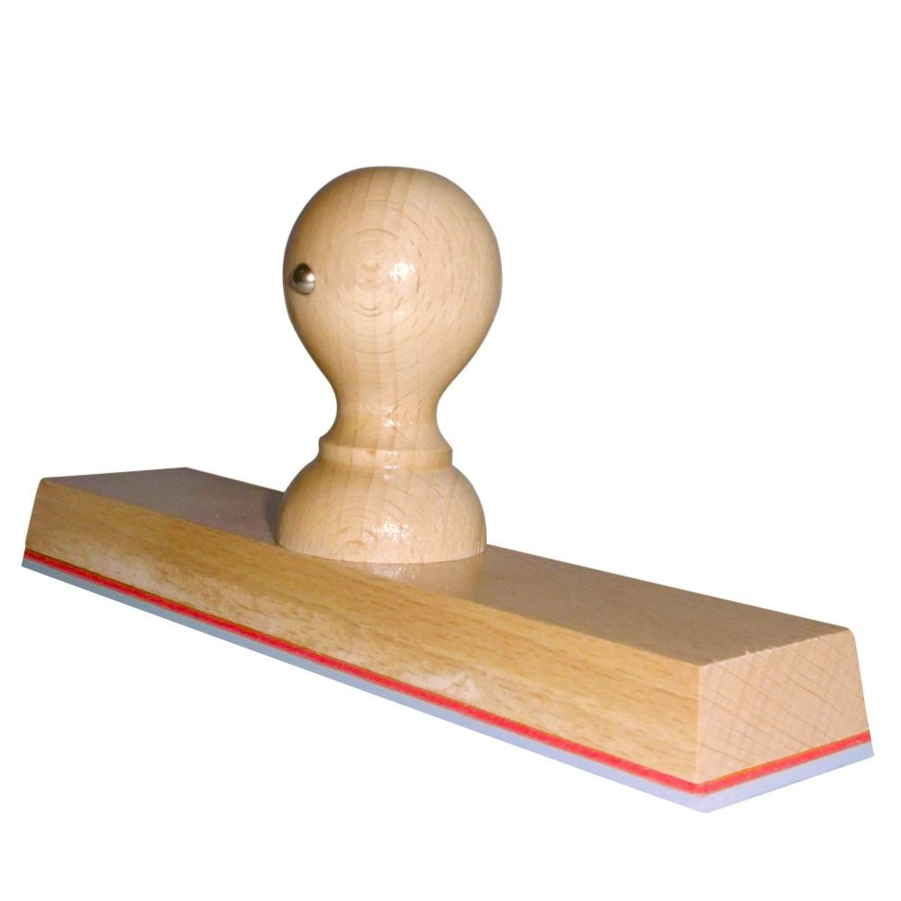 Grote handstempel met beuken houten montuur 200x40 mm