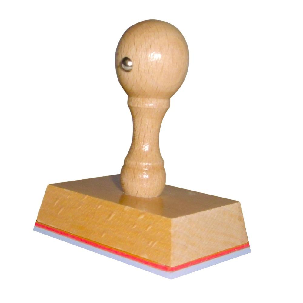 Houten handstempel 65x45 mm.
