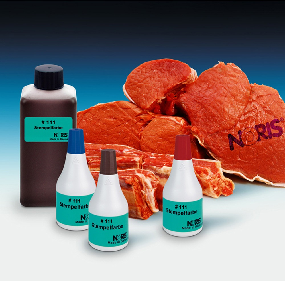 Vleesinkt Noris 111 - vleesinkt blauw, rood en bruin – slachthuis vlees inkt – Stempelfabriek.nl